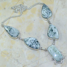 "Handmade Dendritic Tree Agate 925 Sterling Silver Necklace 19 3/4"" #X23825"