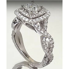 Princess Cut Diamond 14k White Gold Filled Twisted Double Halo Engagement Ring