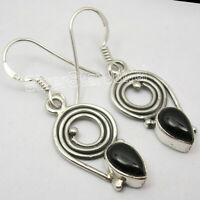 "Vintage Style Earrings ! 925 Solid Sterling Silver BLACK ONYX Jewelry 1.4"" NEW"