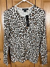 August Silk Woman's Tan Black Animal Print Button Front Sweater Shirt Size M NWT