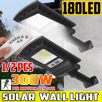 180LED Solare Sensore di Movimento Luce Strada Sicurezza Muro Lampada + Remoto