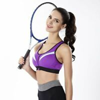 Women Zipper Sport Bra Front Closure Tighten Underbust I-Shaped Fixed Mold Cup