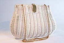Vintage White Wicker Purse with gold chain and clasp