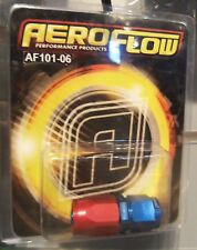 Aeroflow aper Style One Piece Full Flow Swivel Straight Hose End -6AN Blue/Red