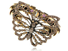 Lady Crystal Rhinestone Gold Tone Butterfly Insect Bug Bracelet Bangle Cuff