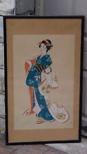 "ANTIQUE JAPANESE WATERCOLOR ON SILK SCROLL PAINTING OF ""GEISHA"", RED SEAL,FRAMED"