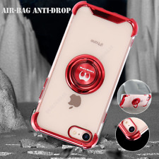 For iPhone 7 8, 7/8 Plus SE2 (2020) Soft Clear Case Cover Metal Ring Holder