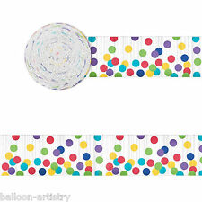 24m Rainbow Multi Colour Polka Dot Spots Party Crepe Paper Streamer