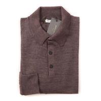 NWT $950 BOGLIOLI Heather Brown Extrafine Cashmere-Silk Polo Sweater Slim M