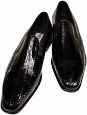 Eel Skin Men's Ronaldo Solid Black Italian Leather Loafer Slip On Dress Shoes