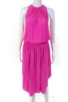 Ramy Brook Womens Pleated Audrey Midi Dress Hot Pink Size Small