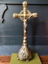 Antique Large Religious Cross,Altar Ornate Brass Crucifix,Jesus,Church Salvage