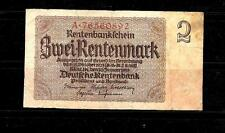GERMANY #174b VG CIRCULATED 2 RENTENMARK OLD BANKNOTE PAPER MONEY BILL NOTE