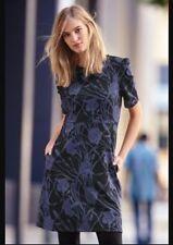 Bnwt🌹Next🌹Size 10 Black & Navy/Blue Floral Print Jacquard Dress Evening Work