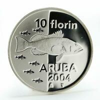 Aruba 10 florin Animal Series - Fish proof silver coin 2004