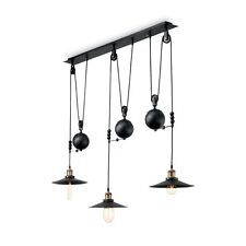 LAMPADARIO VINTAGE IN METALLO NERO OPACO A 3 LUCI COLL. UP AND DOWN SP3