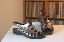 Ara Liv Metallic Bronze Pewter Leather Lace Up Ghillie Style Sandals EUR Size 40