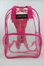 Travel Sport Clear Vinyl PVC 17 inch Backpack Book School Bag (Hot Pink) 419HP