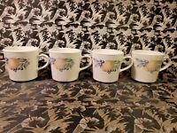 CORNING WARE CORELLE ABUNDANCE COFFEE CUPS MUGS SET OF 4 FRUIT PATTERN
