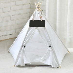 Paw Hut Teepee Bed Pet Cat Kitten Dog Puppy Play Tent Foldable House White