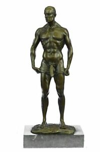 Signed Handcrafted Depict of Nude Gay Man Bronze Sculpture Marble Base Figurine