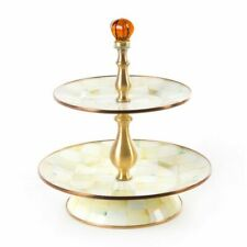 MacKenzie-Childs Parchment Check Enamel Two Tier Sweet Stand RETIRED