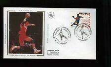 France FDC silk cachet Handball Championship 2001