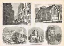 1854 Croyland Bridge Watergate Street Chester Guildhall Chichester Engravings