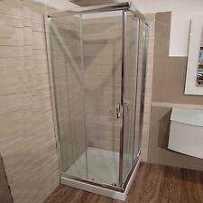 Box doccia 80x100 scorrevole angolare in cristallo 6 mm cabina vetro trasparente