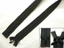 Zip, Zipper, Medium, Closed End,Nylon, Black Teardrop Puller, UK Made, 8-30 inch