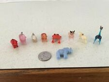 VINTAGE LOT MINIATURE GLASS ANIMALS ELEPHANTS RED FROG HORSE GIRAFFE PENDANT