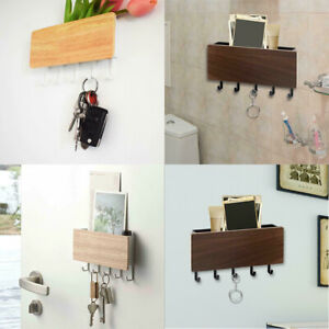 Wall Mount Wooden Door Hanger US Key Hooks Letter Box Mail Organizer
