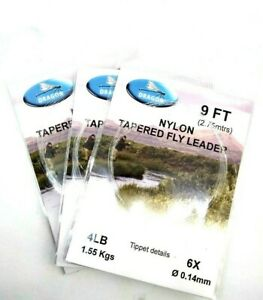 3 Dragon, Tapered Leaders, Brown, Rainbow Trout, Grayling, Fly Fishing Leader