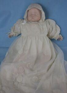 SUGAR BRITCHES Porcelain Sleeping Baby Doll w Gorgeous Silk Christening Gown