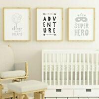 Child Bedroom Nursery Wall Art Prints Decor Pictures Boy Girl Grey Scandinavian