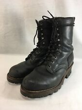 Worx Red Wing Logger Work Boots Mens 7 W Black Leather Steel Toe 10 Eyelet