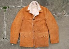 VTG SCHOTT SUEDE LEATHER SHERPA LINED WESTERN RANCHER COAT JACKET USA 38/40