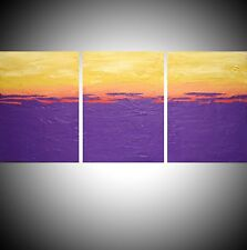 acrylic painting canvas triptych artist abstract wall artwork purple impasto