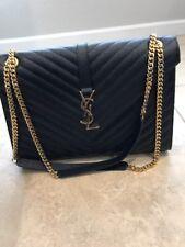 YSL Large Cassandre Calfskin Shoulder Bag, Black, Retail $2590.00