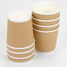 25 x 4oz Brown Paper Coffee Cups Kraft Ripple 3 Ply Insulated Tea Espresso