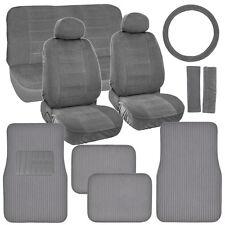 Retro Vintage Fabric Seat Covers & Carpet Floor Mats Ribbed in Original Grey