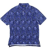 Polo Ralph Lauren Brit West Indie Blue Floral Print Golf Shirt Mens Size X-Large
