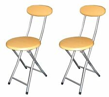 2 x Junior's Folding Breakfast Chair Office Kitchen Party Bar Stool MDF Seat