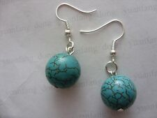 Pair of Real Blue Turquoise Stone Round (14mm) Beads Charm Ladies Earrings Karma