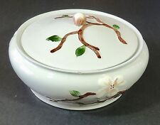 Orchard Ware Calif Pottery White Dogwood Covered Vegetable Serving Dish Bowl EUC