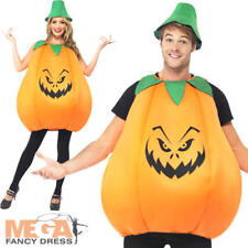 Halloween Orange Pumpkin Adults Fancy Dress Party Mens Ladies Costume Outfit New