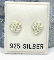 NEU 925 Silber HERZ OHRSTECKER gelb STRASSSTEINE kristallklar OHRRINGE Strass