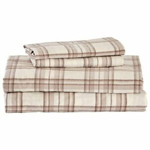 Brand – Stone & Beam Rustic 100% Cotton Plaid Flannel Bed Sheet Set Easy Care...