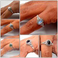 Silver Ring Jewelry 925 Sterling Silver Moonstone Labradorite Amethyst Ring