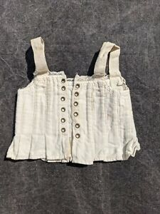 VICTORIAN 19TH C DOLL CORSET W FEATHER STITCHING